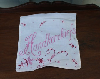 Vintage Embroidered Fabric Handkerchiefs Bag