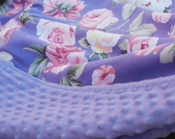 """Baby Blanket, 31"""" x 36"""",Lavender, Pink, Yellow, Lavender Minky Shabby Chic, Cottage Style, Ready to Ship,"""