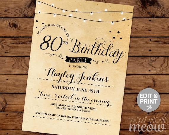 80th birthday invitation elegant eighty invitations party