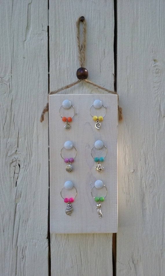 washed white wooden wine charms holder wine charms stand