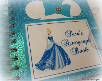 PERSONALIZED Disney Princess Autograph Book Scrapbook Travel Journal Vacation Photo Album Cinderella 248