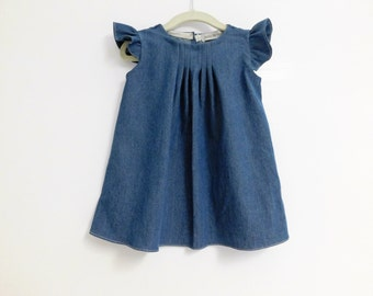 jean flutter sleeve dress, Flutter Sleeve Dress, Jean Baby Dress, Girls Jean Dress, Jean Dress, denim girl dress, fall dress, denim dress