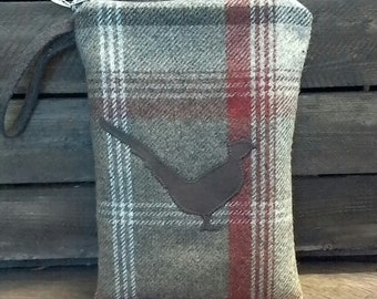 """8"""" tablet bag, tweed tablet case, pheasant hand bag, country accessory, plaid tweed bag, game bird bag, outdoors style bag, leather bird"""
