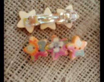 Star button barrette clip hair accessory