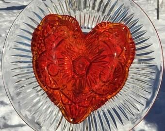Valentine's glass garden flower stake head, carnival glass red heart.