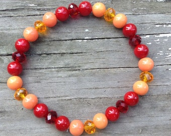 Apples & Oranges, Red/Citrus Glass Pearl Bracelet
