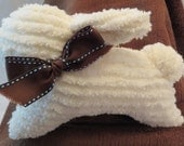 Cute Chenille bunny with brown bow.  Great for a baby gift or to put in your little ones Easter basket.