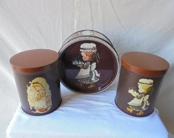 Sarah kay/3 collectible sarah kay inventory canister/cooky jar/drums