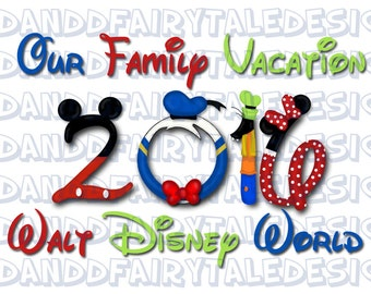 Our Disney World Family Vacation 2016 Themed Digital Art Letters Printable DIY Iron on - Instant Download