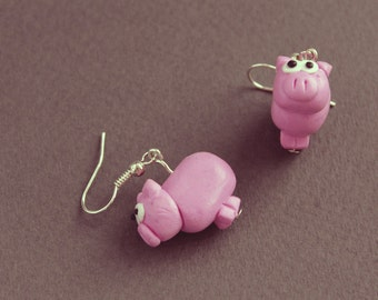 Pig Fimo/Polymer Clay Drop Earrings - Down on the Farm