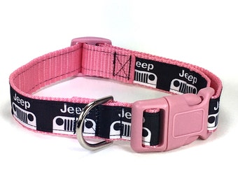 Adjustable Dog Collar - Pink Jeep