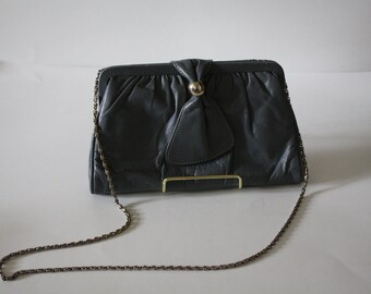 1970s, leather gray purse with silver chain