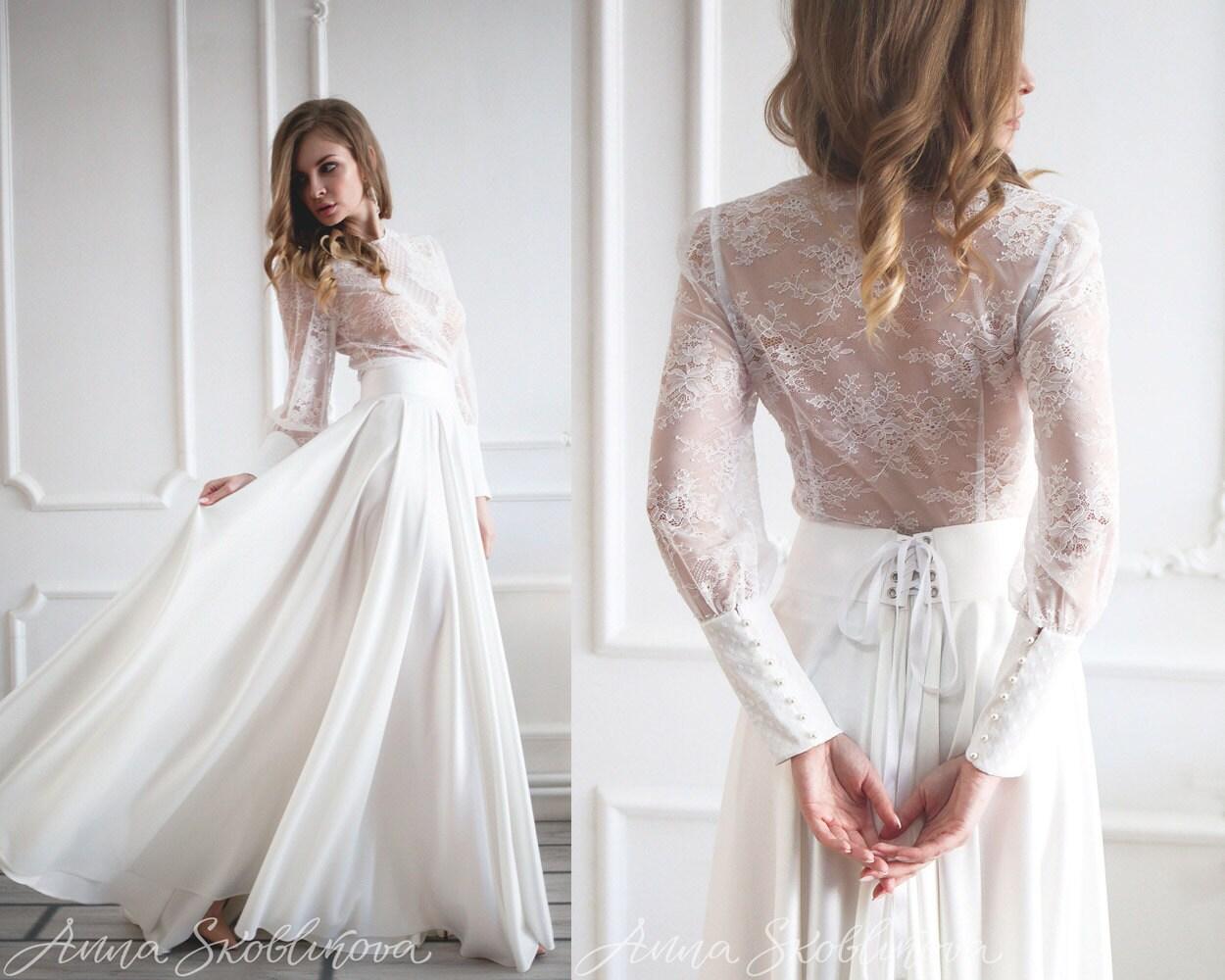 White maxi skirt Long white skirt Maxi skirt by AnnaSkoblikova