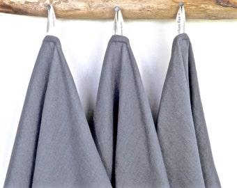 Grey LinenTowels (3), Grey Linen Hand Towels, Grey linen dish towels, Grey linen tea towels, Grey Organic Towels
