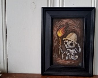"""Its dark in here I - Original acrylic painting 4"""" x 6"""" Framed"""
