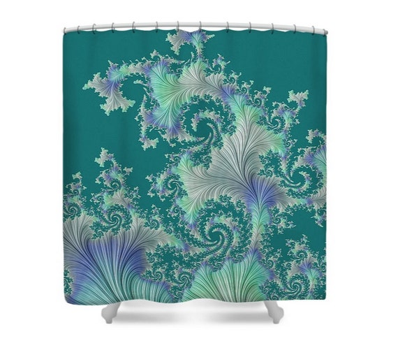 Fantasy fabric shower curtain turquoise green purple ivory for Fantasy shower curtains