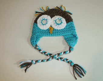 Hand Made Owl Baby Earflap Hat