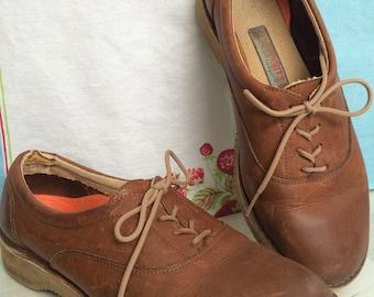 Vintage Leather Rockport vibram sole comfortable oxfords size 9