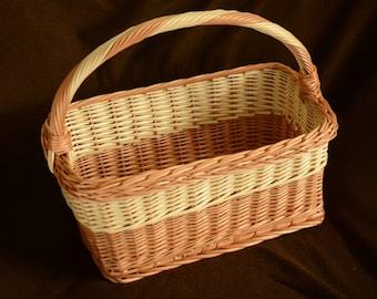 Rectangular Basket, Handwoven Willow Basket, Sturdy Wicker Basket, Natural Willow Basket, Handled Rectangular Wicker Basket, Shallow Basket