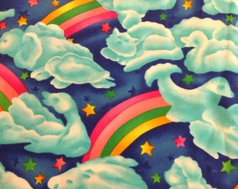 4 yds Nursery fabric Rainbows clouds  stars St Judes Children's Hospital 'quilt of dreams'