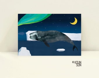 "Bowhead Whale Postcard, 6""x4"", Endangered Animal, Illustration, Art print"