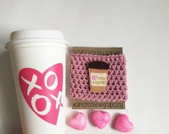 Love you A-Latte Cup Cozy- Dusty Rose Base with Felt Applique