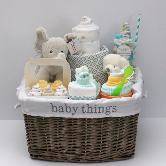 Neutral Baby Themes: Gender Neutral Baby Gift Basket Baby Shower Gift Unique Baby