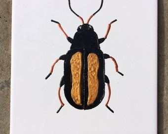 Ceramic Tile Painting. Original. Gold and Black bug beetle creepie crawley insect plaque