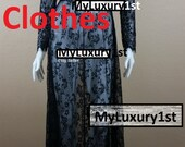 Womens Sexy BLACK See Through Lace Long Maxi Evening Sexy Dress Maternity Photoshoot Wedding Party Bridesmaid Night Gown Beach Anytime S M L