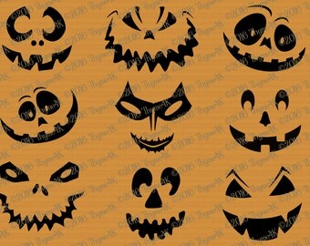 """SVG Halloween """"Pumpkin Faces"""" mix and match! Includes svg, png, jpeg, dxf, & eps formats. Use as Faces, Carving template, window decals, etc"""