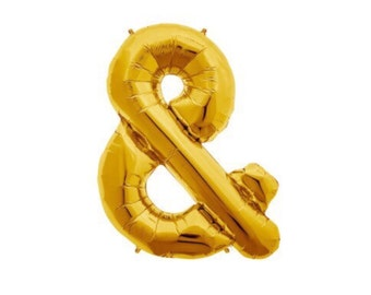 "Ampersand Balloon, 34"", Gold, Symbol, AND Sign, Foil Balloon, Ampersand balloons, & balloon, And Balloon, Alphabet, Letter, Number, Gold"