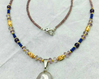 FREE SHIPPING Worldwide Afghan Natural Amethyst with Lapis Lazuli and Purple Glass Tiny Seed Beads Necklace Handmade Jewelry Make for Order