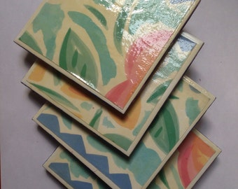 Floral Ceramic tiles Coasters 4 1/4x 4 1/4 size (set of 4) Best Gift Decor Present