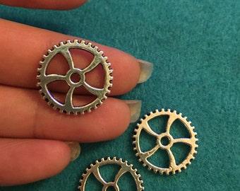 10 large steampunk cog gear charms Tibetan silver antique wholesale bulk -18mm