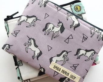 Purple Unicorn Pouch, Coin Purse, Zipper Pouch, Organization, Wallet, Gifts for her under 15, Chambray