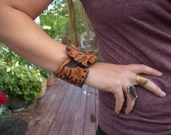 Wide Tooled Leather Cowgirl Cuff