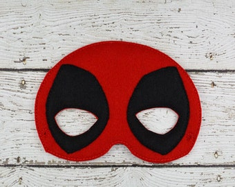 Red and Black Comic Hero  Children's Felt Mask  - Costume - Theater - Dress Up - Halloween - Face Mask - Pretend Play - Party Favor