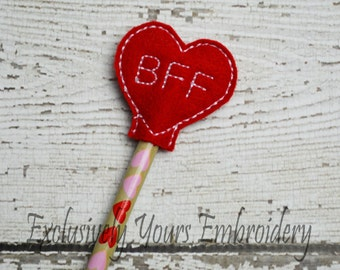 BFF Heart Pencil Topper - Party Favor - Valentine - Classroom Prizes - Best Friends - Conversation Heart - Valentine's Day  - Back to School