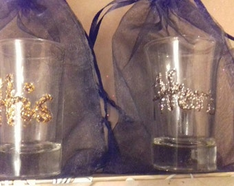 """Pair of """"His & Hers"""" hand decorated shot glasses"""