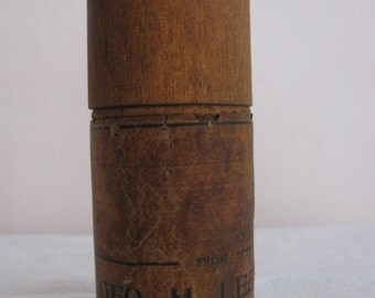 Vintage Cylindrical Wooden Screw Top Container