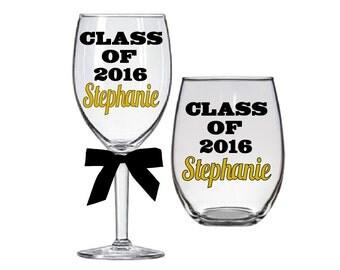 Graduation Wine Glass-College Graduation-Graduation Gift-Class of 2016-Personalized Graduation Glass