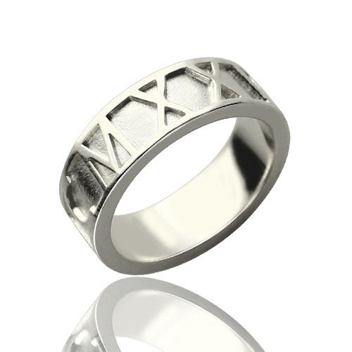 Roman Numeral Wedding Bands: Silver Roman Numeral Ring. Personalized Roman Numeral