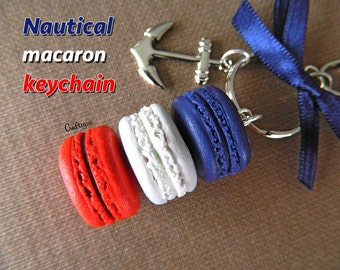 Nautical macaron keychain with anchor charm and bow / miniature food / polymer clay jewelry
