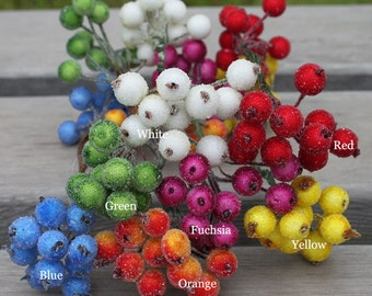 Bunch of 10 stems(20 berries)-Artifical Frost Berries,Wired Berry Cluster,Fake Berries,Artificial Floral Flowers Fruit,Millinery Supplies