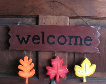Autumn/Thanksgiving, Welcome, Sign, Wood, Leaves, Orange, Red, Yellow, Handpainted