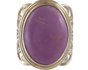 Retro Vintage 925 Sterling Silver Nepal Light Purple Lavender Stone Ring Size 7