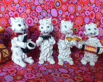 SIX cats band 6 cat vintage Italy spaghetti music group, noodle kittens Italian pottery fab condition RARE Musical instruments cats
