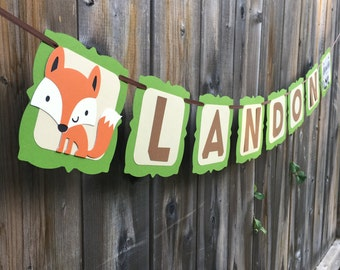Woodland Critters Name Banner | Woodland Party Decor | Forest Friends Name Banner | Woodland Animals Party Banner | Fox | Raccoon