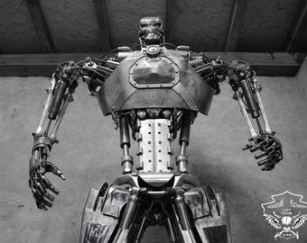 Metal Robot  Dieselpunk Recycled metal art 2,50 metre - 8,2ft Life size T800