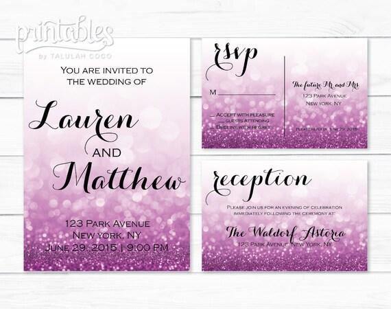 Digital wedding invitation purple rsvp card details card for Digital wedding invitations with rsvp